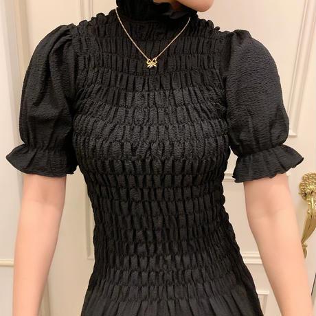 ruffed gather mini one-piece(black)