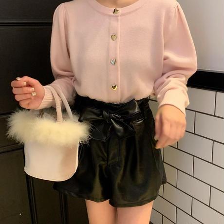 leather ribbon short pants