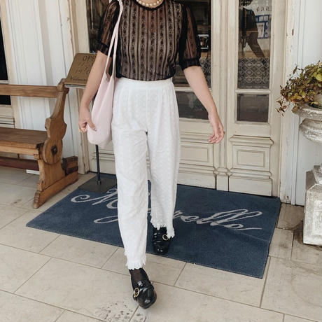 ribbon cotton lace pants
