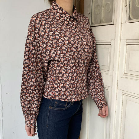 Brown retro flower blouse