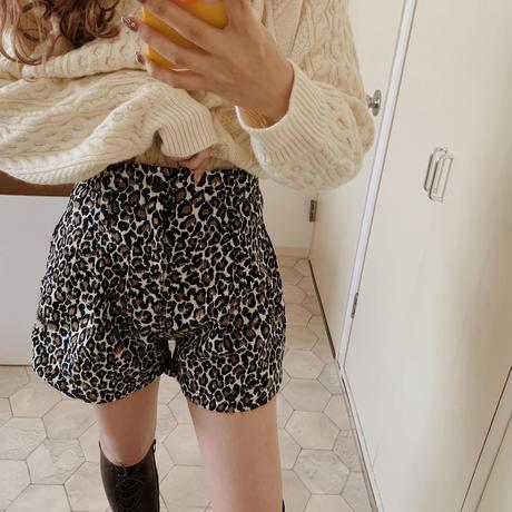 Leopard high-waist short pants