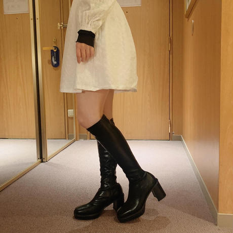 leather heels long boots