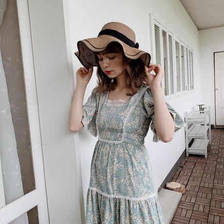 elegant wave ribbon straw hat