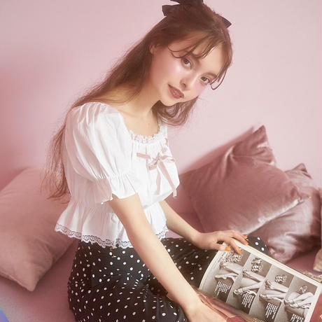 girly ribbon puff tops(white)