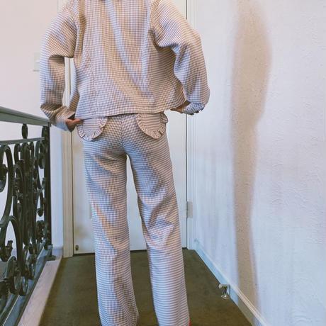 gingham check frill pants