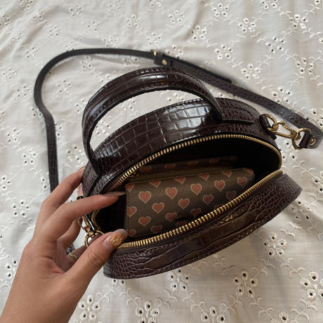 2way round leather bag