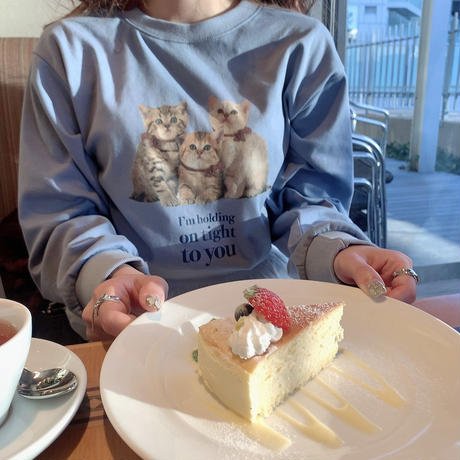 Treat cat long T-shirts(ice blue)