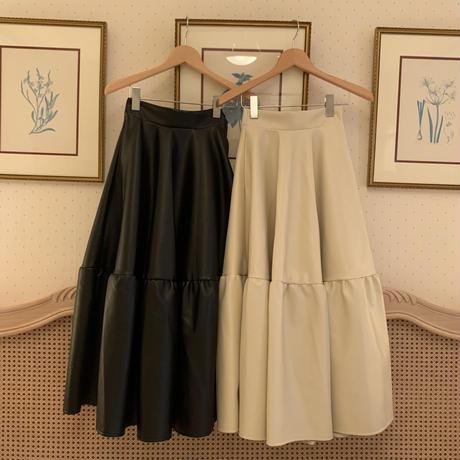 leather volume long skirt(ivory)
