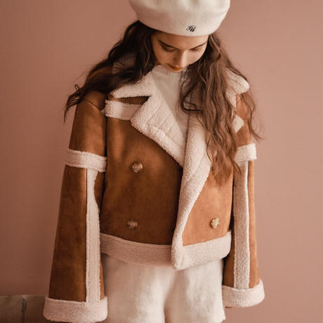 mouton boa short jacket(camel)