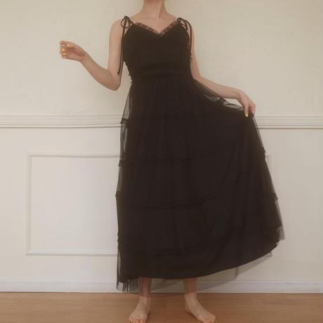romantic tulle camisole one-piece(black)