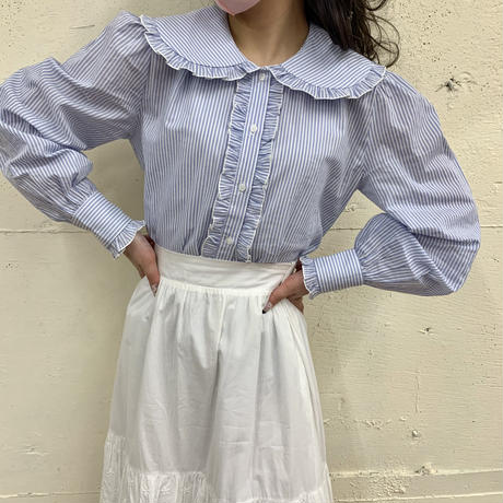 stripe frill collar blouse
