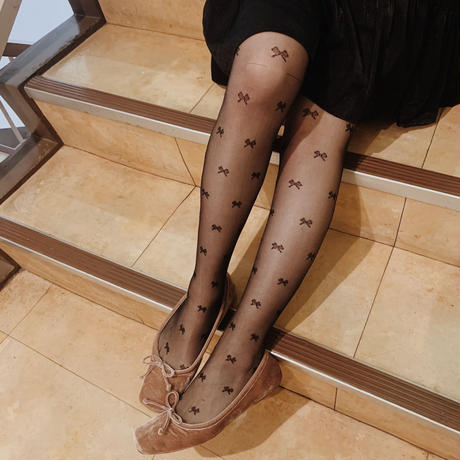ribbon girly tights