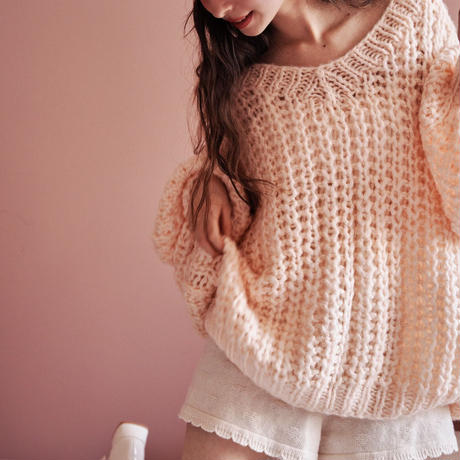 Handmade loose knit (pink)