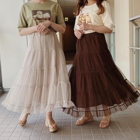 volume tulle skirt (ivory)