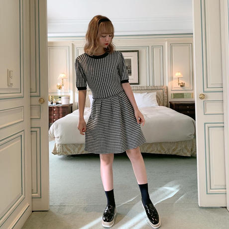 houndstooth pattern knit one-piece
