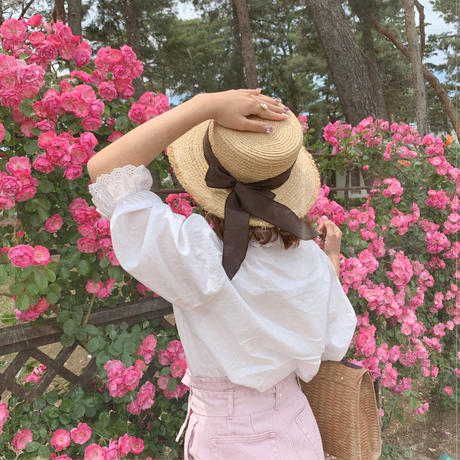 retro brown ribbon straw hat