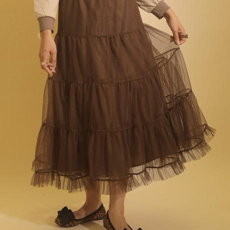volume tulle skirt(brown)
