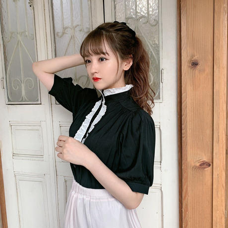 classical puff blouse(black)