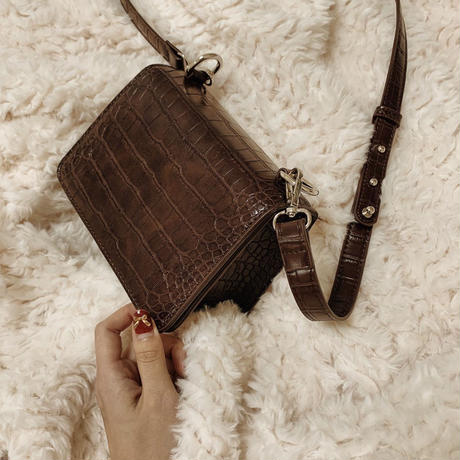 croco leather sholder bag