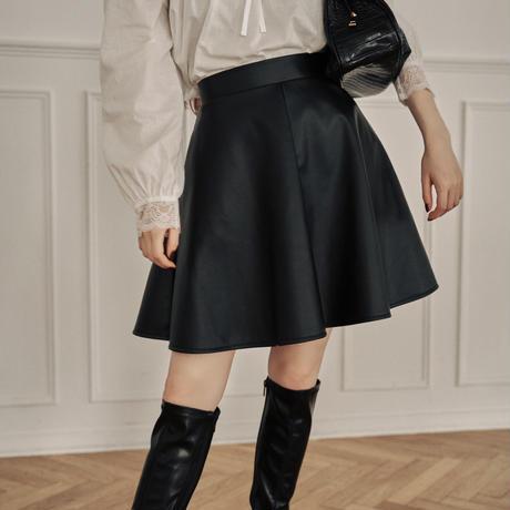 leather flare mini skirt