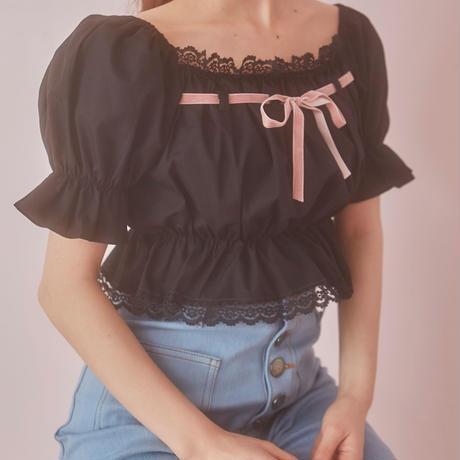 girly ribbon puff tops(black)
