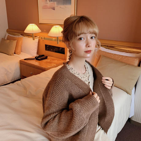 arm volume knit cardigan(cocoa)
