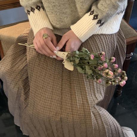 Treat original check pleats long skirt