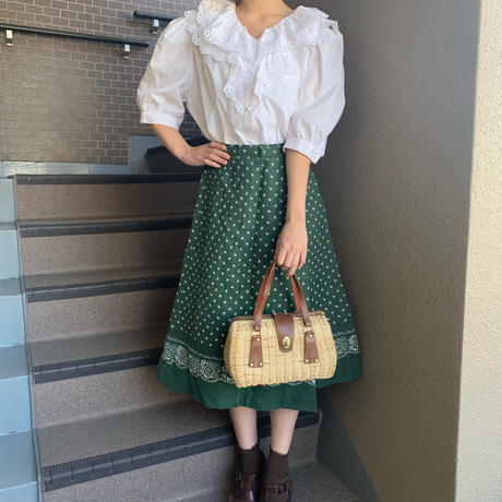 retro green flower skirt