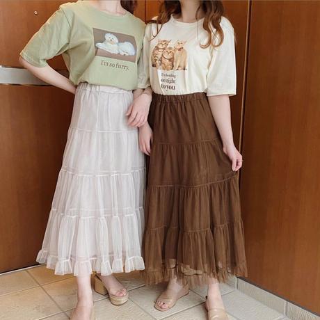 volume tulle skirt(brown)