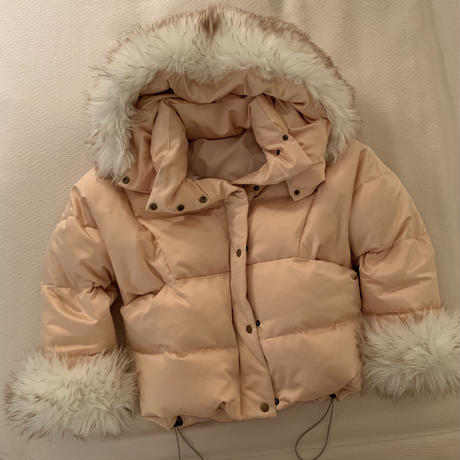 fur short down jacket(snow pink)