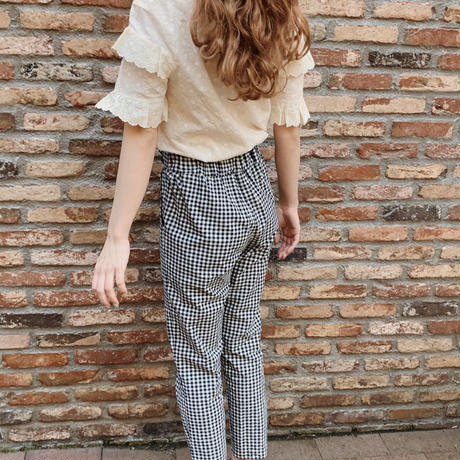 retro gingham check pants