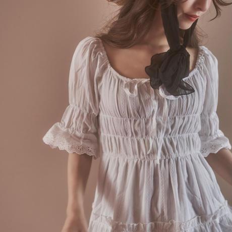 feminine cotton gather one-piece
