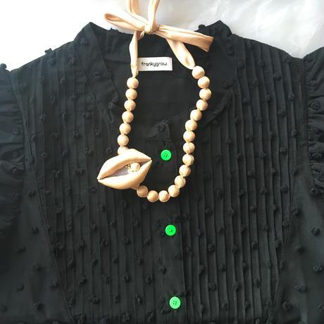 grand  jete  玉ネックレス  &  唇ブローチ セット   シャンパンゴールド