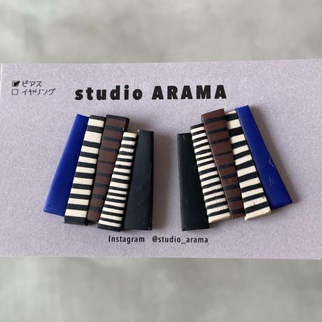 studio ARAMA  ボーダースティック合わせ ピアス
