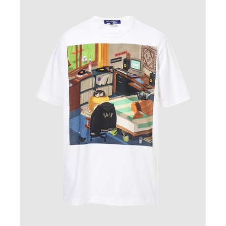 綿天竺 プリント Tシャツ 白×イラスト柄