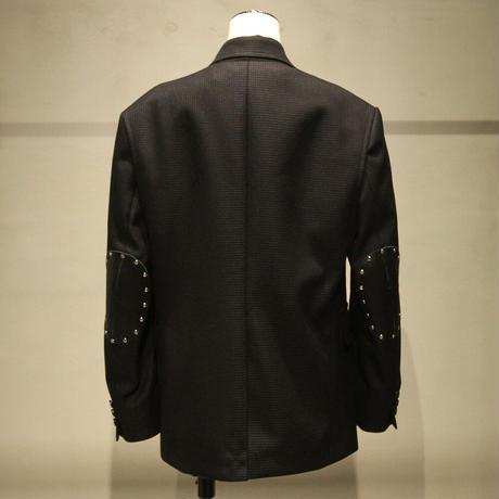 ウールエステル千鳥格子×牛革エルバーパッチジャケット