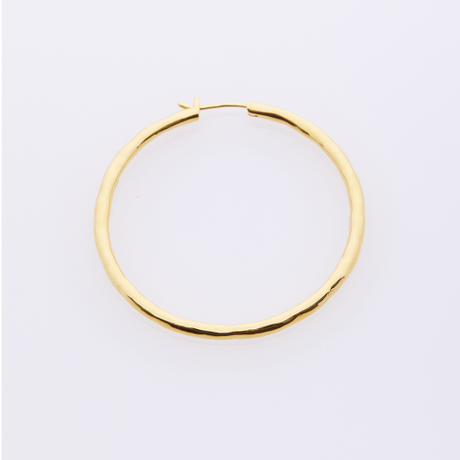 Snowfall Hoop Pierced Earring 40 - Yellow Gold