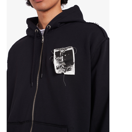 RAF SIMONS PRINTED PATCH ZIP THROUGH SWEATSHIRT