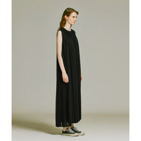 ATON   FRESCA KANOKO   GATHER DRESS   BLACK