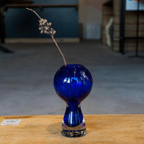 <小型>Vintage Glass Flower Vase -ball top blue-