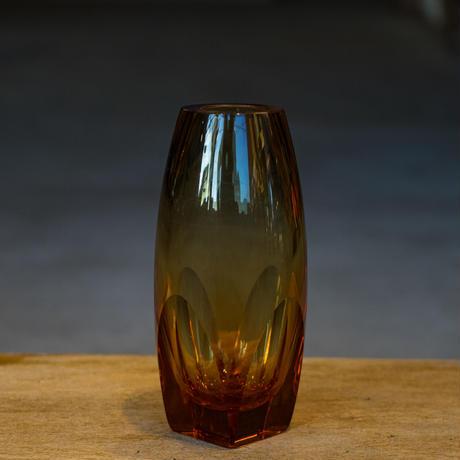 <小型>Vintage Glass Flower Vase -Amber-