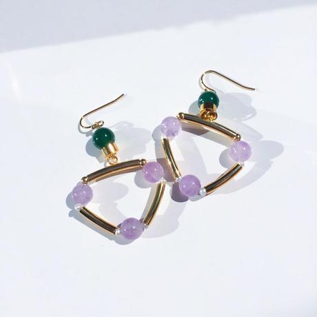 Ciita--TRIANGLE earrings LAVENDER x GREEN