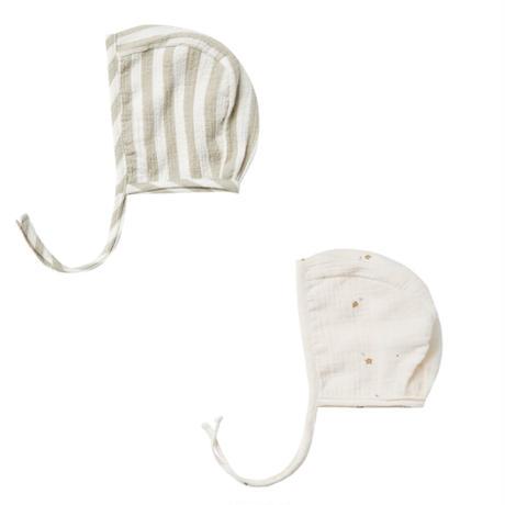QUINCY MAE Baby Bonnet(sage stripe 3-6m)