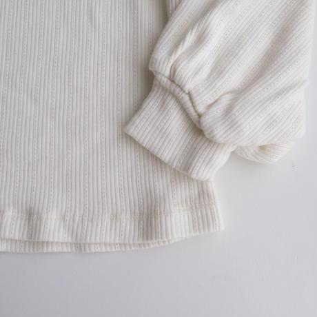 tocoto vintage Ribbed quadrille turtle-neck T-shirt with puff sleeves(2Y,4Y,8Y,10Y)