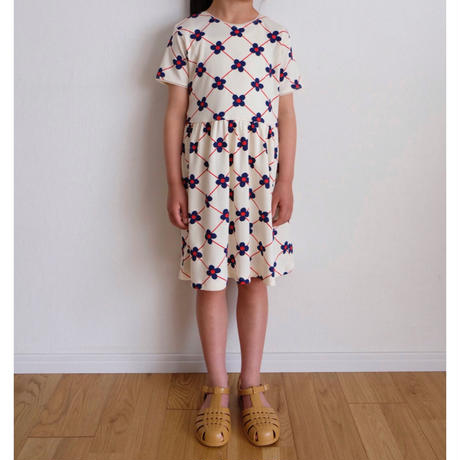 128/134ラスト1点 mini rodini Flower check aop ss dress