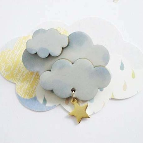 cloudブローチ☆ブルー