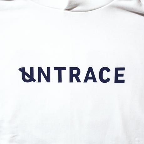 UNTRACE BIG U BACK PRINT HOODIE (White×Navy)