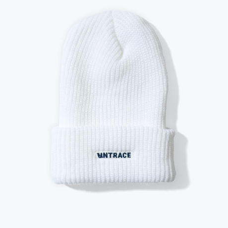 UNTRACE LOGO EMBROIDERED BEANIE (White×Navy)