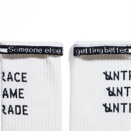 UNTRACE TAG LINE SOCKS (Off White×Navy)
