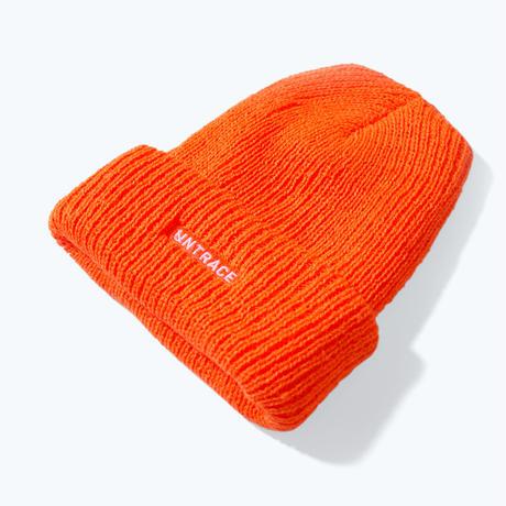 UNTRACE LOGO EMBROIDERED BEANIE (Orange×White)